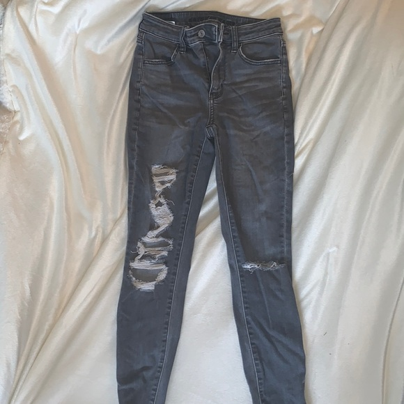 Grey American eagle ripped jeans